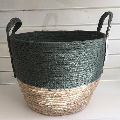 Straw basket, green top, natural base - MEDIUM