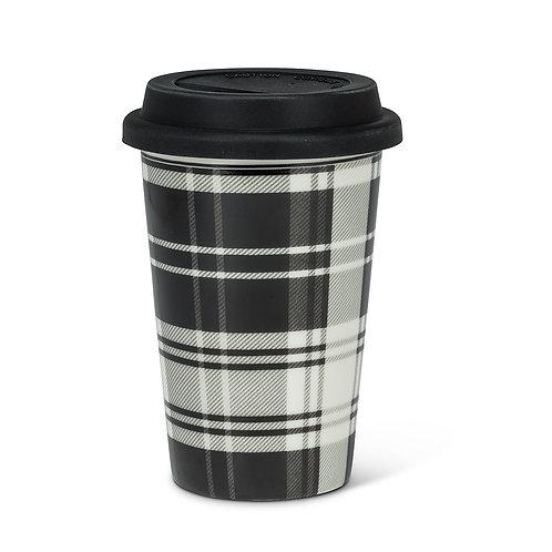 Plaid Takeaway Cup, black/white