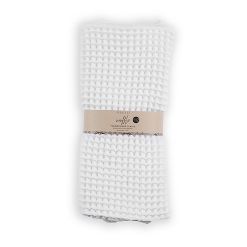 Waffle hand towels, pack of 2 - WHITE
