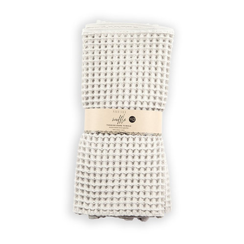 Waffle hand towels, pack of 2 - Light Grey