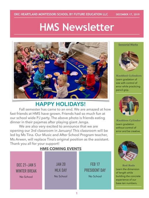 HMS Newsletter 20191217