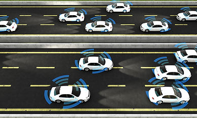 Autonomous cars on a road with visible c