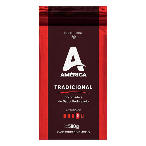 CAFÉ TORRADO E MOÍDO VÁCUO AMÉRICA TRADICIONAL - 20 PACOTES DE 500 GR