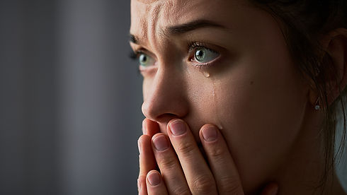 Sad desperate grieving crying woman with