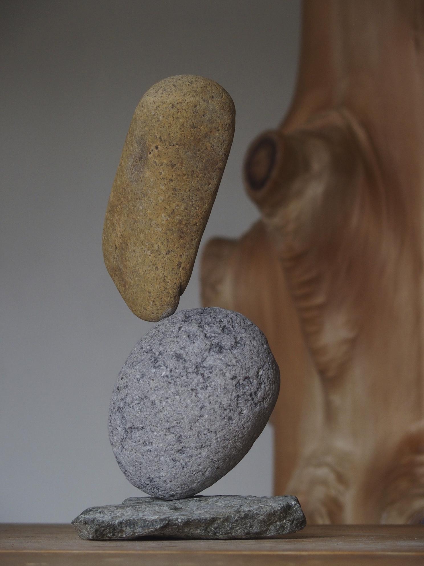 倒れようとする丸石をトップで抑え込む
