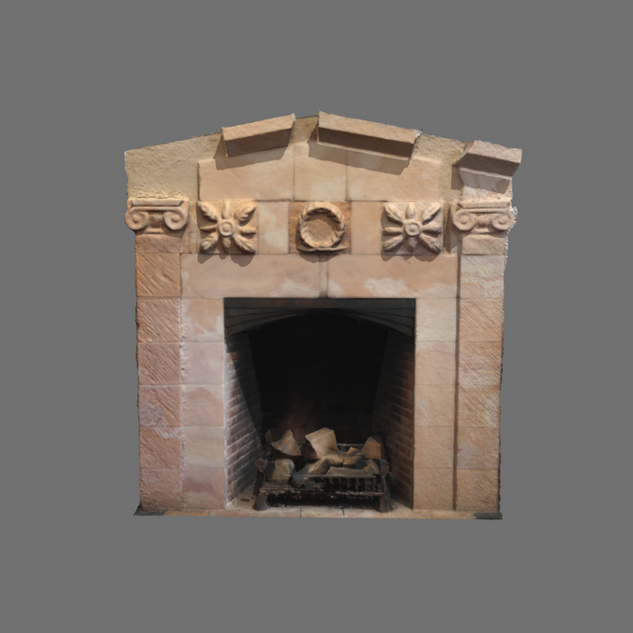 Former schoolhouse fireplace