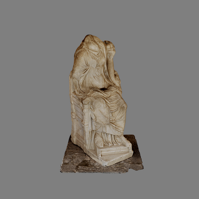 Enthroned Tyche statue