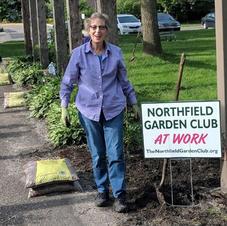 Linda Blankenberger Working Hard at Pergola Garden