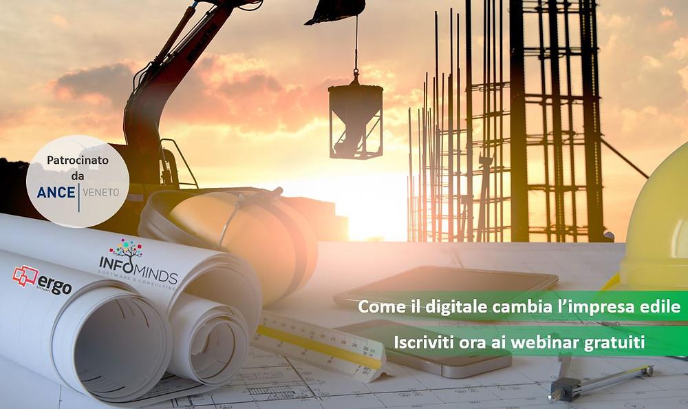 Webianar Edilizia Digitale - Infominds: patrocinio ANCE. Smart working, sicurezza, gestione liquidità e budget