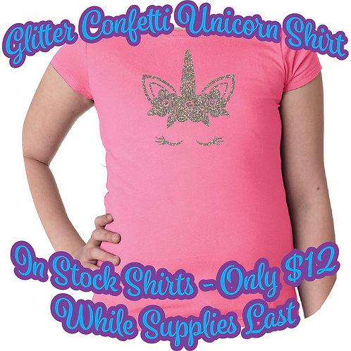 Glitter Confetti Unicorn N3710 Princess T-Shirt