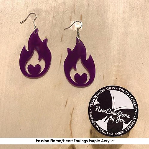 PASSION - Passion Acrylic - Flame Heart Earrings