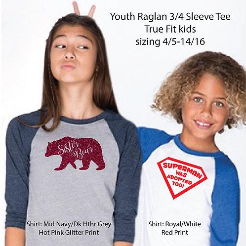 FH 3352 Next Level Youth CVC 3/4 Sleeve Raglan