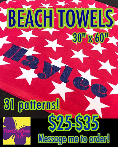 "Personalized Classic Beach Towel 30"" x 60"""