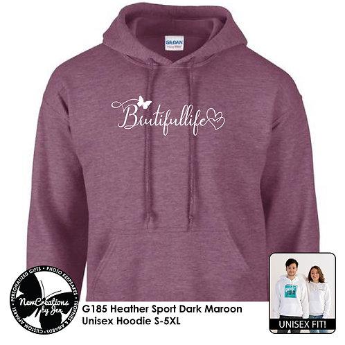 BRUTIFULLIFE G185 Basic Hoodie - Heather Sport Dark Maroon