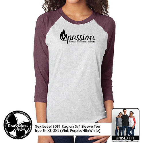 PASSION - 6051 NextLevel Raglan 3/4 Sleeve T-Shirt