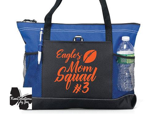 Eagles Mom Squad Large Custom Zippered Bag