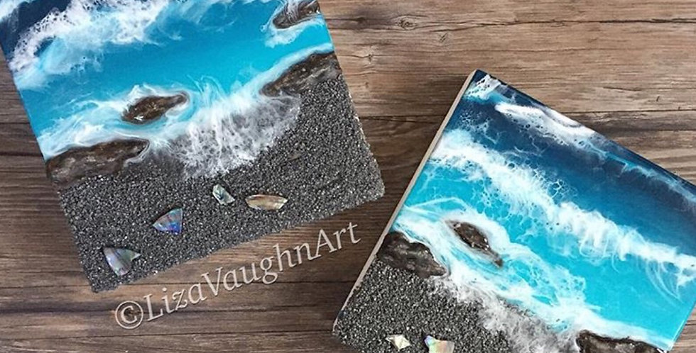 Hawaiian black sands beach art