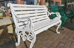 White Ornate Bench at Greens Home and Ga
