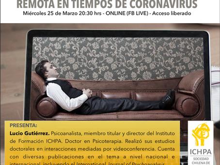 CHARLA ONLINE: Teleanálisis y Psicoterapia Analítica Remota