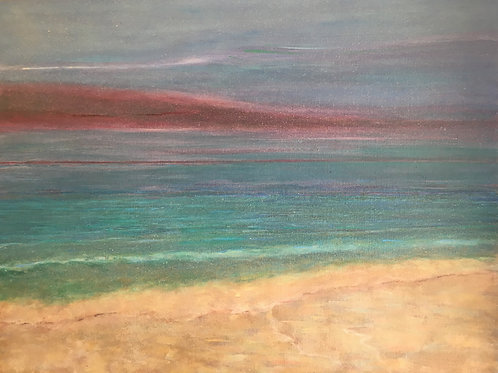 Sandy Beach with Purple Cloud