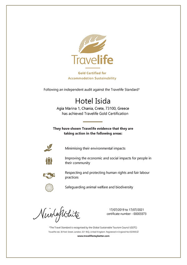 Travelife Gold Certificate - Hotel Isida