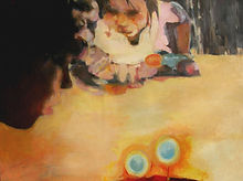 20. Birthday candles, Oil on wood, 24 x 36 inches, 2003.jpg