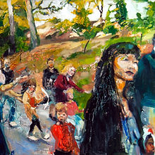 5. Parade II, Oil on wood, 24 x 48 inches, 2014.jpg