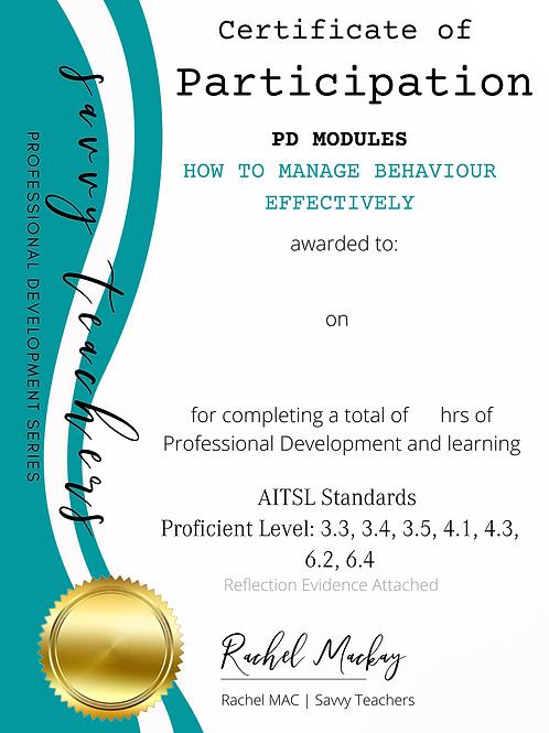 Proficient Level PD KIT - How To Manage Disruptive Behaviour