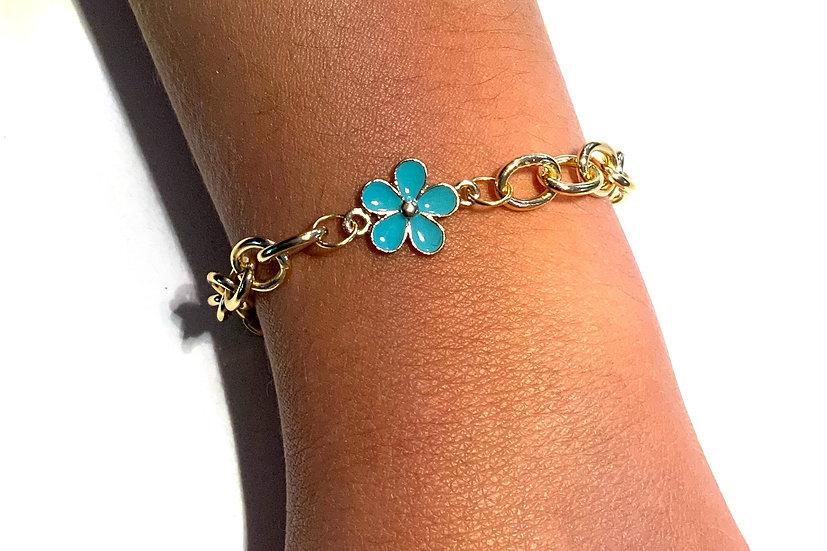 BRACELETZ - GOLD/BLUE FLOWER