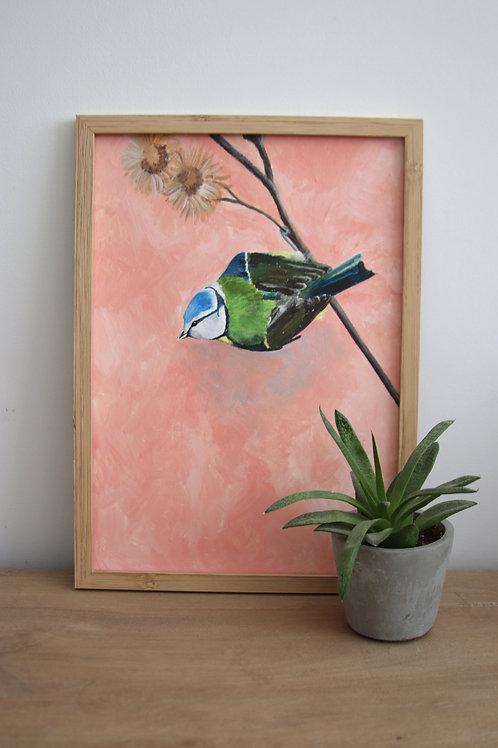 Blue Tit A4 original on paper