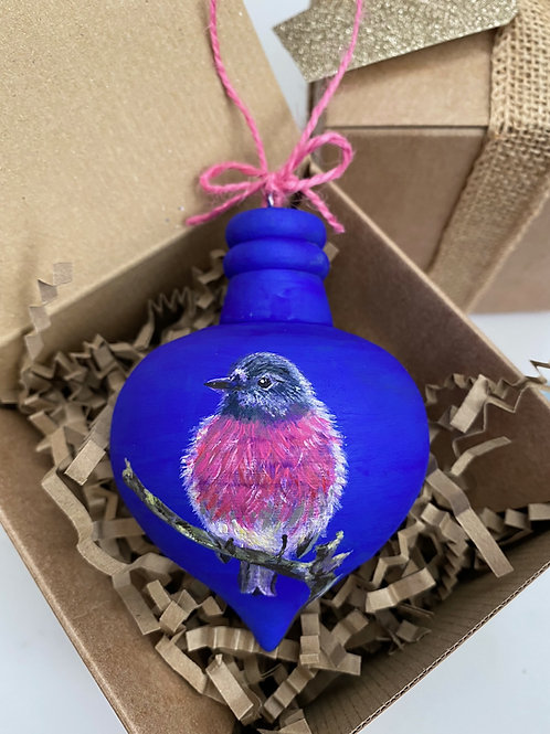 Pink Robin on Blue Wooden Bauble
