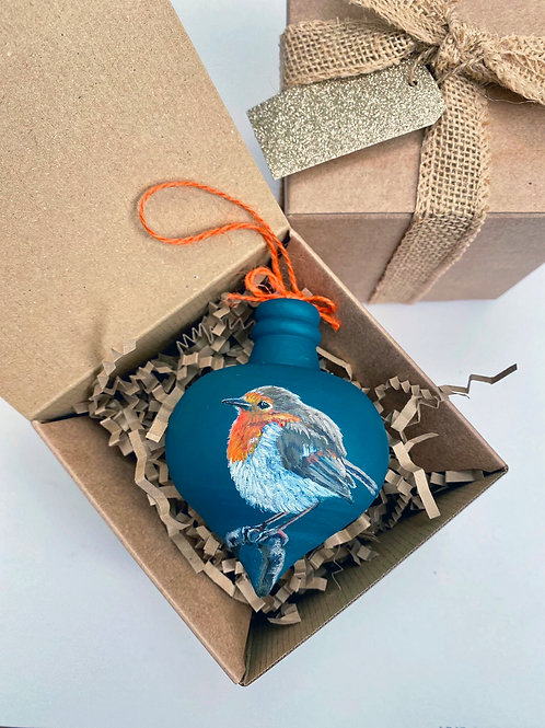 Teal Robin Wooden Bauble