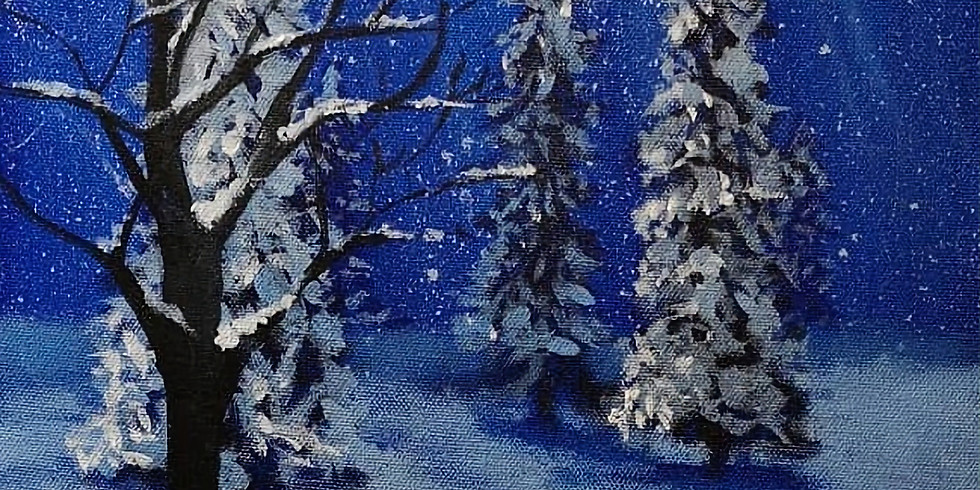Paint and Prosecco ( A snowy night)