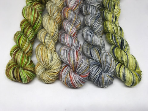 4 ply minis - pistachios, unrepeatable, sunset song, cloud howe, lightening