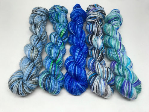 4 ply mini skeins - flying south, Virgo, sapphire, feeling badgered, moonlight