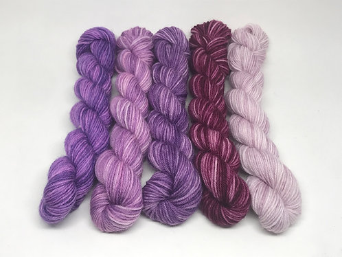 Ready to ship - 4 ply muted purple minis