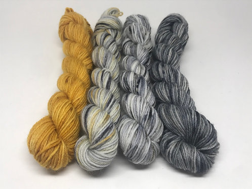 4 ply mini skeins - amber, wolf, wolf grey sky, unrepeatable