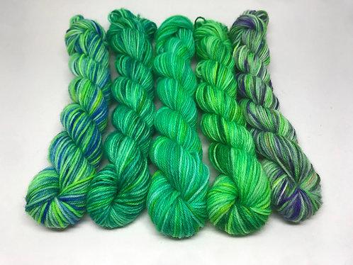4 ply mini skeins - peacock plumage, unrepeatable, underwater greens, endora