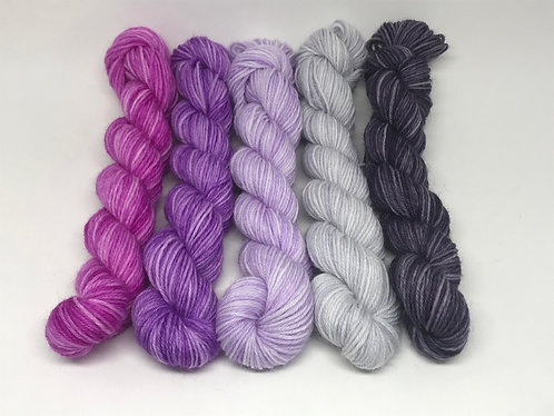 Ready to ship - 4 ply purple minis