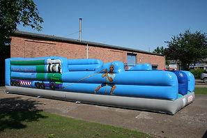 Truckpull themed Inflatable Bungee Run