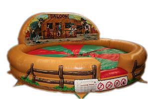 Inflatable Rodeo Bull bed Western Style with artworked Changeable Back wall