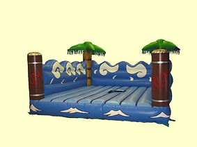 Inflatable Surfboard simulator game bed with simple artwork and Feature Palm trees