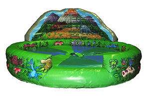 Inflatable Rodeo Bull bed Dino themed with artworked Back wall