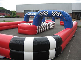 Inflatable Quad Track - Red with 3 Blue Arches