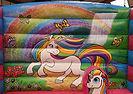 Unicorn and rainbow  themed back wall
