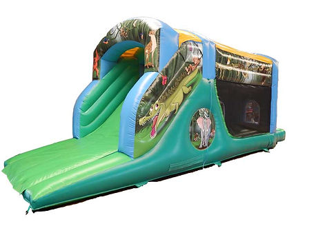 Printed One Part Jungle Fun Run Bouncy Castle