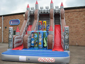 10ft Platform Slide with Double Slide in Knights theme