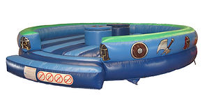 Inflatable Gladiator game with Simple Round Bed with themed artwork