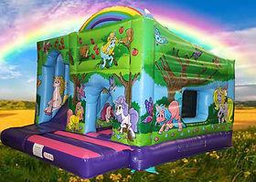 Unicorn 15 x 15 Bounce Cabin with Internal Slide Bouncy Castle