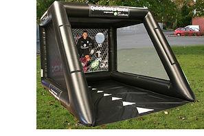Inflatable Football shootout game  Black Tubular shootout with Black Groundsheet and themed back panel